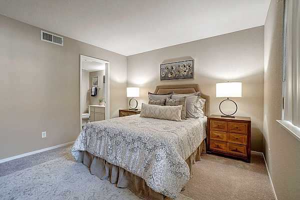 Photo #5 The ample sized master bed room boasts new carpet and ceiling to floor paint.  The walk-in closet is conveniently located off the master bath.